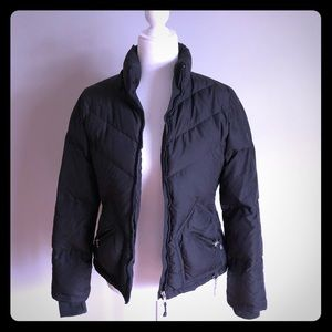 J Crew black short puffer jacket with down fill